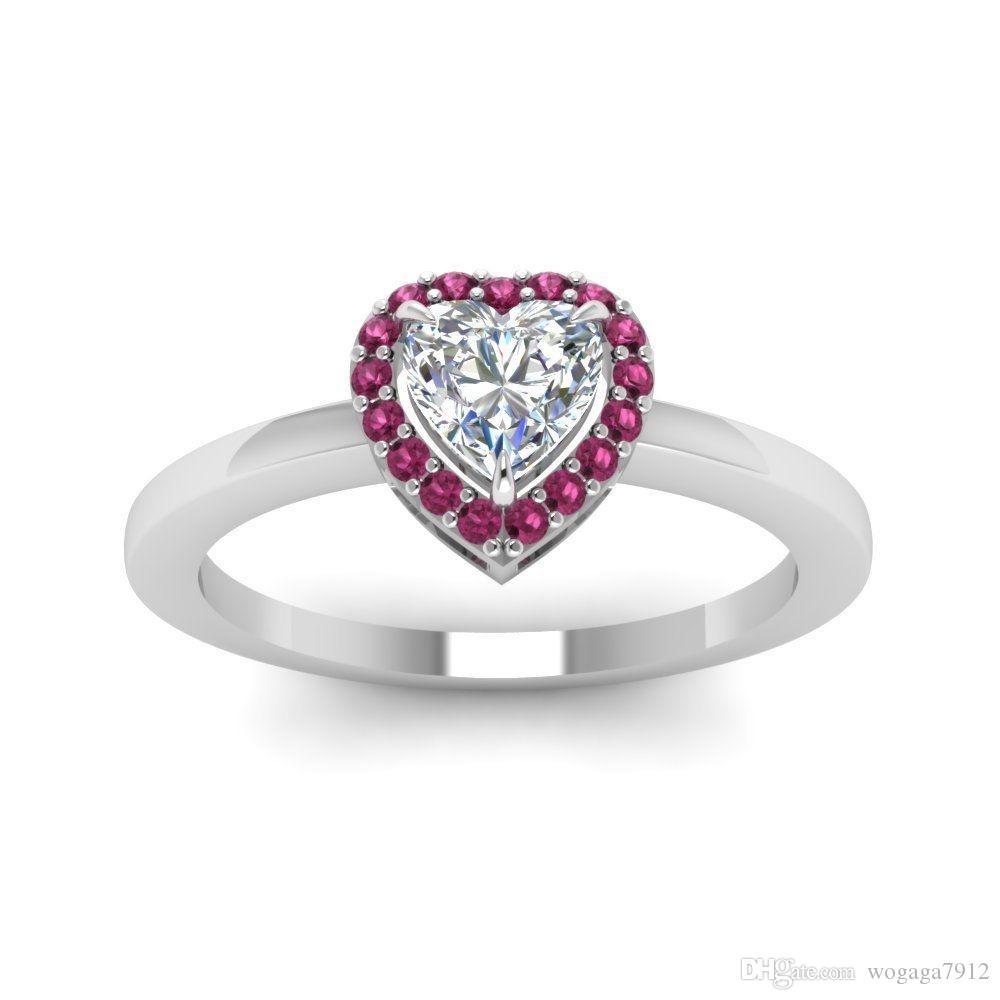 оптовые женщины способа повелительницы 925 стерлингового серебра сердца Whiteruby Wedding Engagement Bride Размер кольца 6 -10