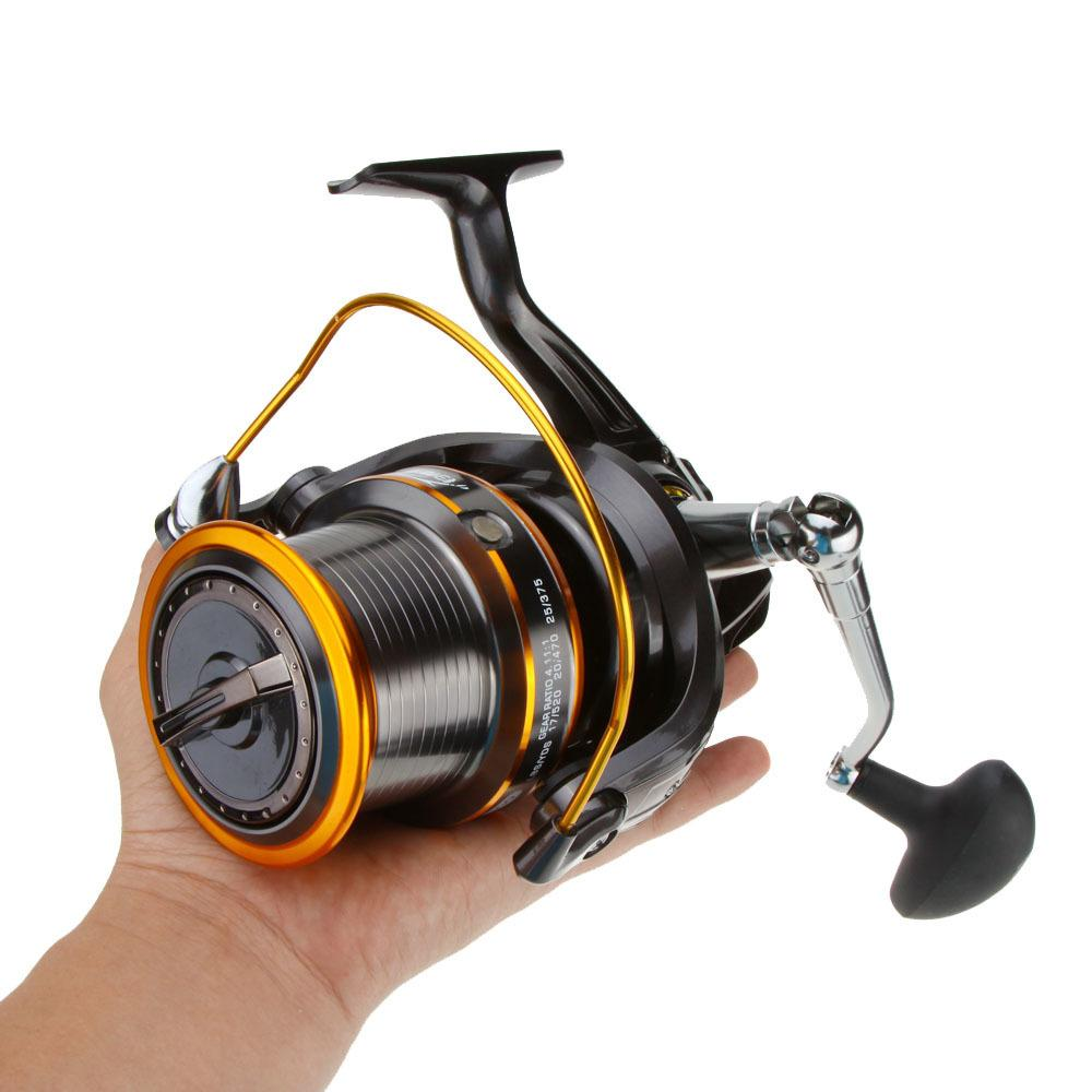 12 + 1bb 13ball Roulements gauche / droite Lj9000 interchangeable Super Big Sea Fishing Wheel Métal Spinning Reel Haute Vitesse 4.11: 1