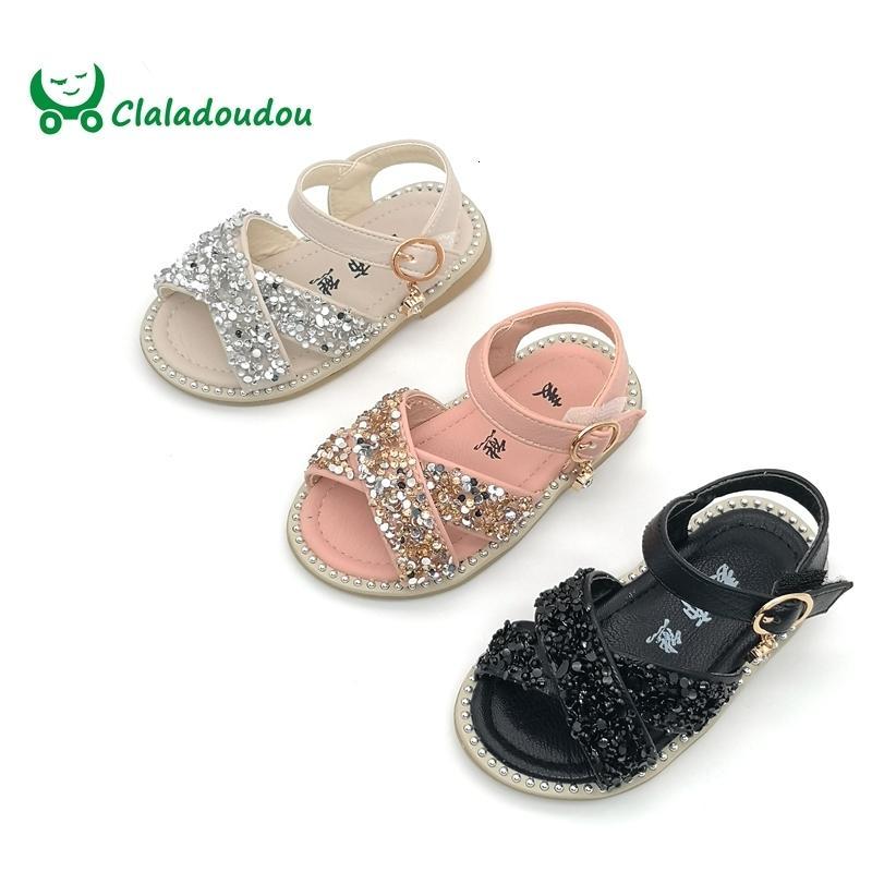 Claladoudou 11.5-15.5CM Baby Bling Shoes Pu Leather Infant Beige Rivets Summer Sandals Kid Girls Black Princess Party Dress Shoe SH190916