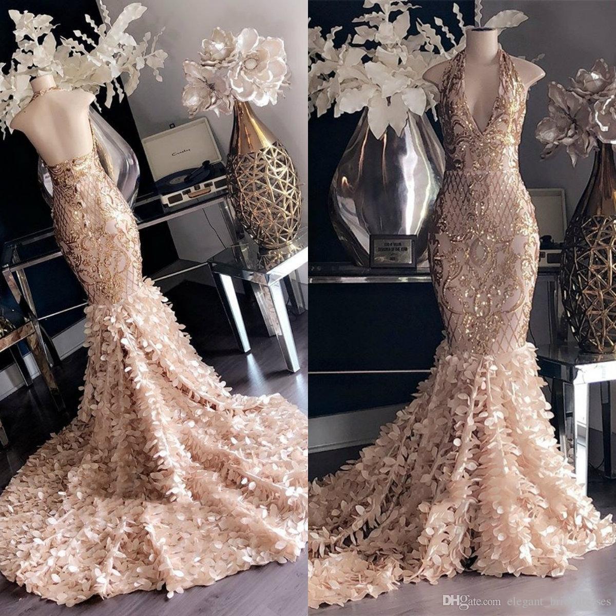 Lindo Top Mermaid Dresses Prom 2019 mangas Lantejoulas Lace Applique vestidos de noite Plus Size Formal vestido de festa
