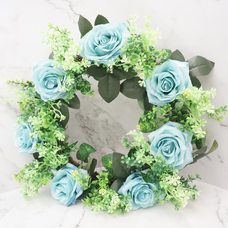 ev dekorasyon aksesuar için Duvar Pencere Dekorasyon Yuvarlak Garland Asma Mavi Gül Yapay Çiçek Çelenk Kapı