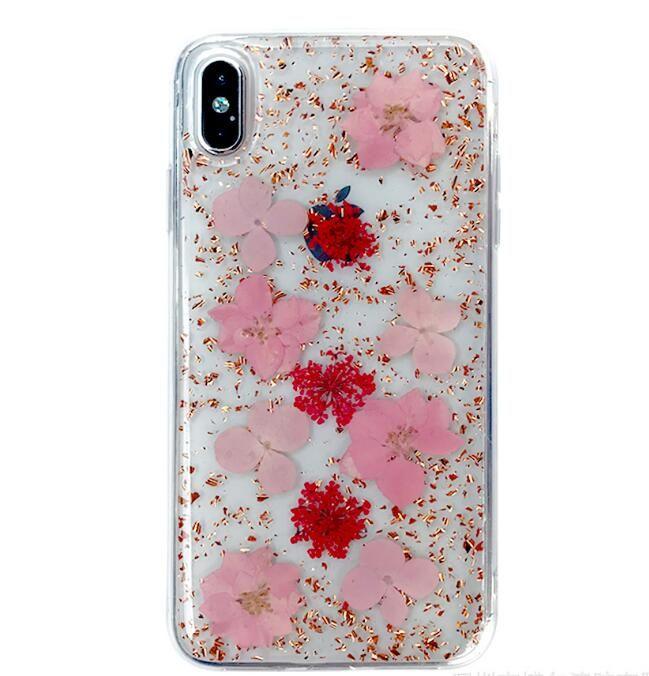 Hyun Blume für iPhonex max Epoxy Telefon Shell getrocknete Blumen echte Blume Epoxy Handy Schutzhülle Handy Bluetooth-Kopfhörer