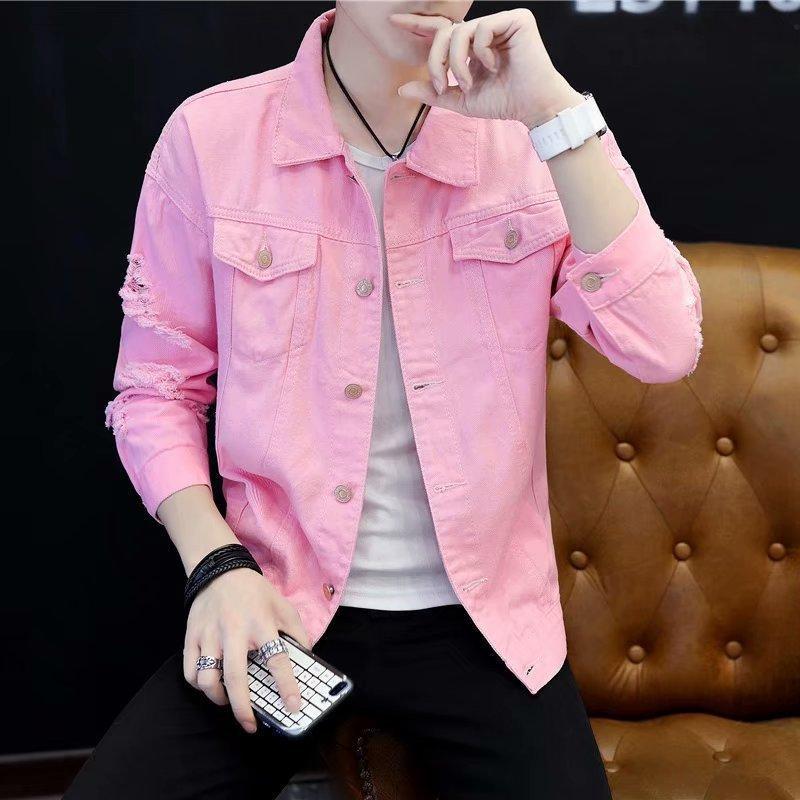 Vente en gros veste rose automne hommes coréenne Cowboy jeunesse des adolescents Slim vêtements en jean casual hommes veste rétro japonaise pour