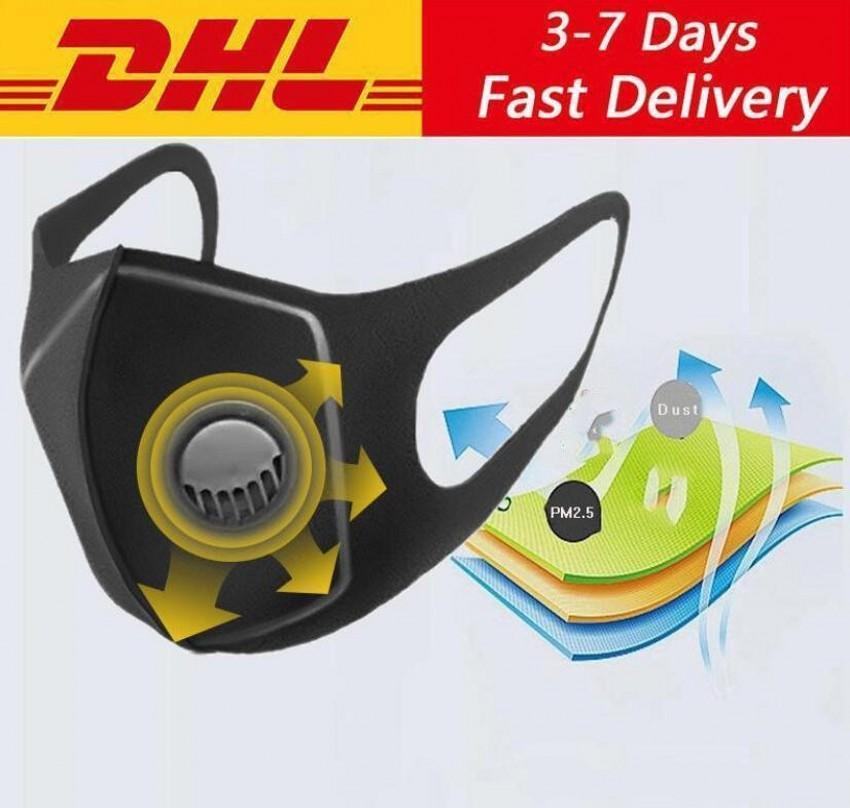 Máscara DHL navio! Coslony Unisex Sponge Dustproof PM2.5 poluição Meia Face Boca com válvula com respiração alças largas lavável reutilizável Muffle
