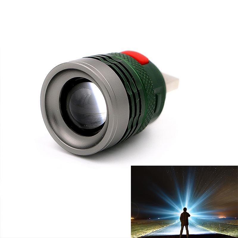 Mini USB LED Flashlight Flash Light USB Portable Charging Lantern Computer Light 3-Mode Reading Lamp Army ArmyGreen