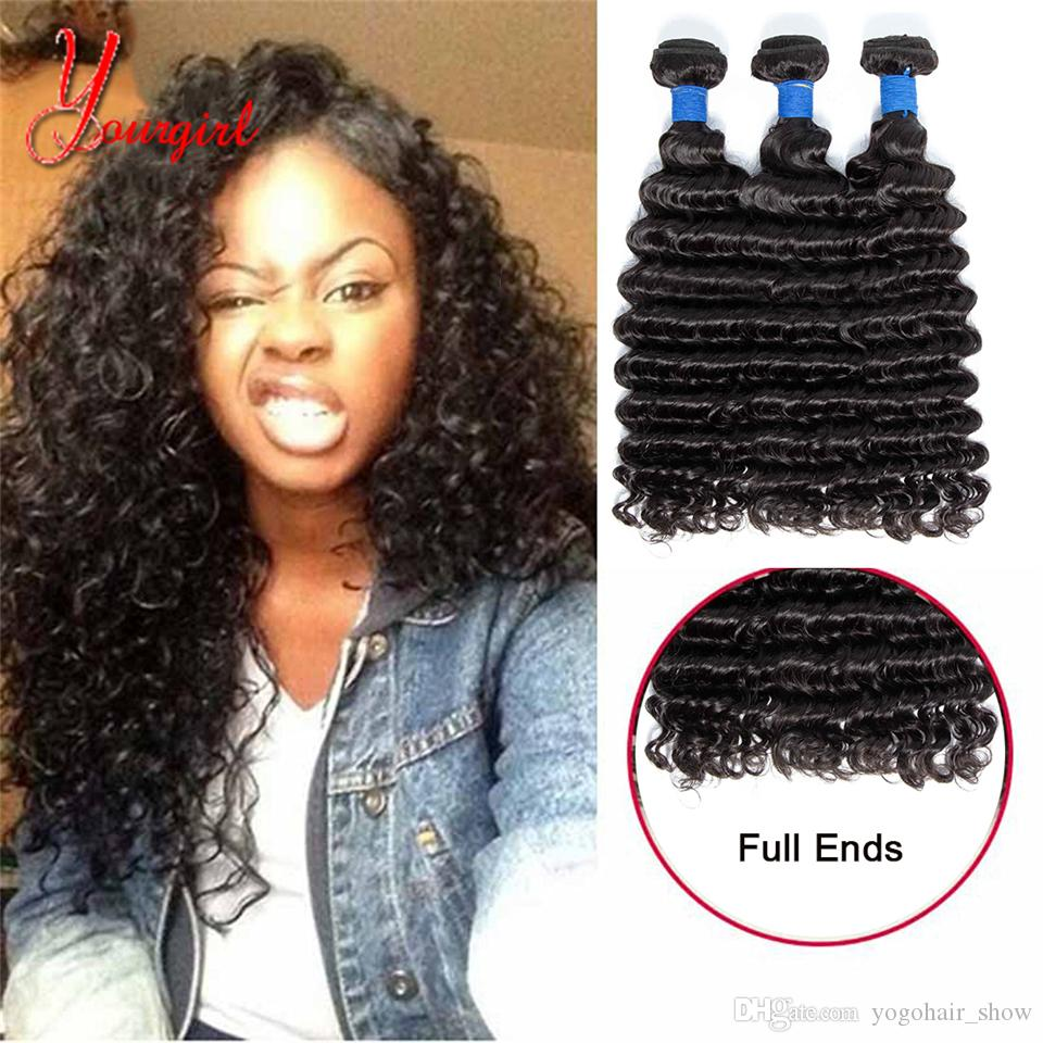 Raw Grade 8A Indian Deep Wave 3 paquetes Sin procesar 100% Human Virgin Deep Curly Hair 8-28 pulgadas Color natural Tejedora Doble trama
