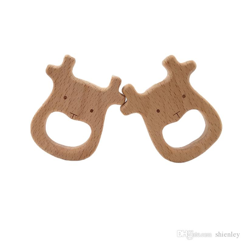 Natural Wooden Cattle Shape Teething Ring Baby Teether Teething Toy Shower Gifts