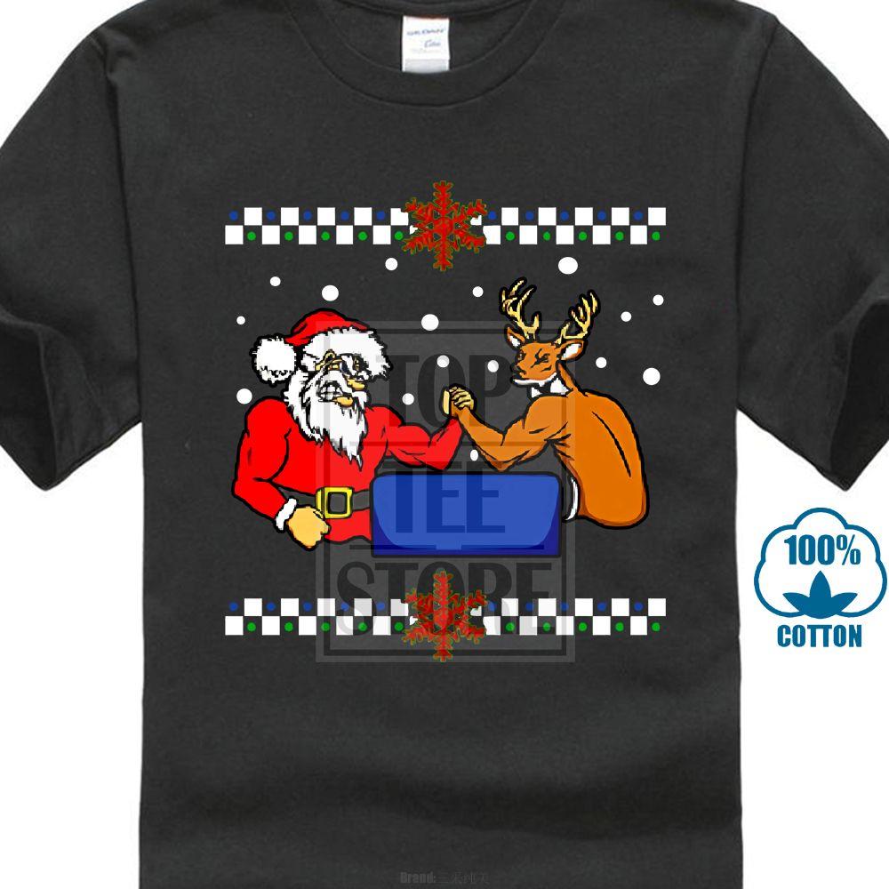 Maglietta da uomo di Santa Arm Wrestling Rudolph Maglietta da uomo di Natale brutto maglione di Natale