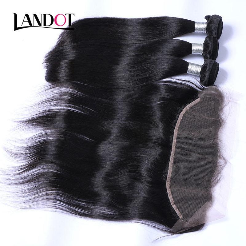 Бразильский перуанский малазийский индийский прямой девственницы человеческие волосы плетение 3 пакета с 13x4 кружева лобные замыкания кутикула выровнены волосы реми
