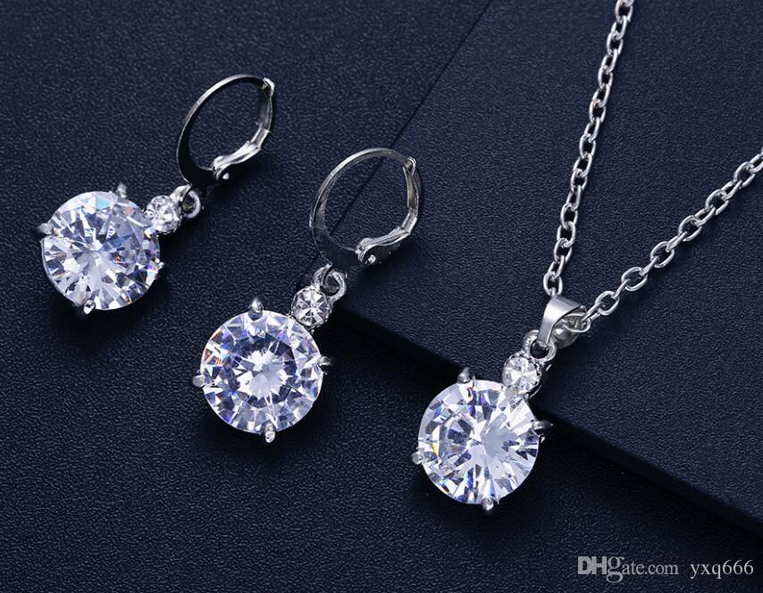 nueva venta caliente conjunto de joyas de moda conjunto de joyas de moda brillante circón collar pendientes conjunto