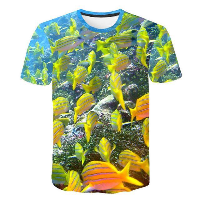 dressing2020 stampa 3D Pesce uomo T-shirt Hip Hop Ocean Animal T Uomini / Donne fai da te di personalizzazione 3D tshirt Abbigliamento uomo 2019 parti superiori di estate