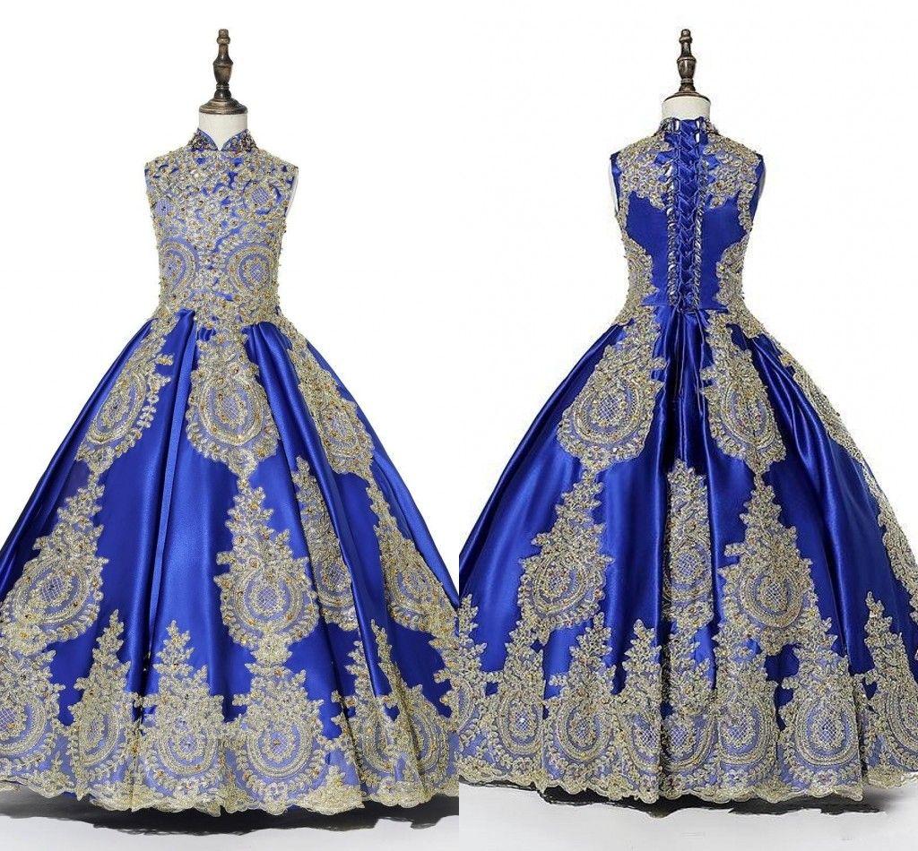 2019 Modest Royal Blue Gold Dentelle Applique Filles Pageant Robes Ruché À Lacets Style Chinois Fleur Fille Robe Communion Premières Robes Sacrées
