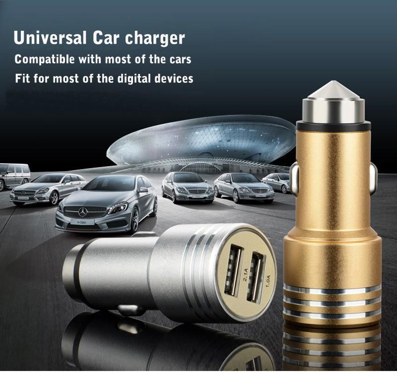 Çift USB Bağlantı Noktası Alüminyum Metal Emniyet Hammer Araç Şarj Adaptörü Seyahat Mini USB Oto Araç Şarj için iphone Samsung HTC Smartphone Evrensel