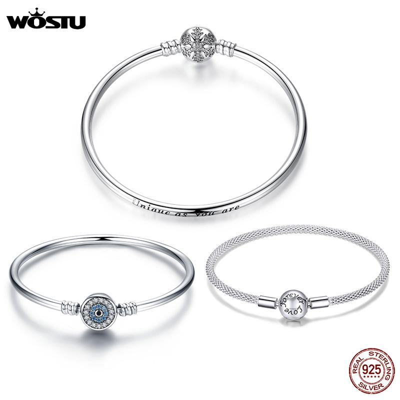 WOSTU 100% 925 plata de ley original pulseras del copo de nieve de los ojos azules circón cadena de joyería apta mujeres pulsera brazalete