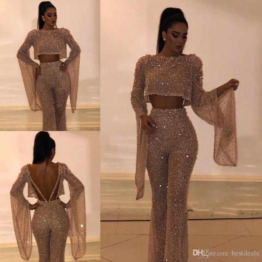 2019 Sparkly Sequined Two Pieces Pant Suit Prom Dresses Sheath Long Sleeves Plus Size Formal Dresses Party Evening Gowns Custom Made BC0240