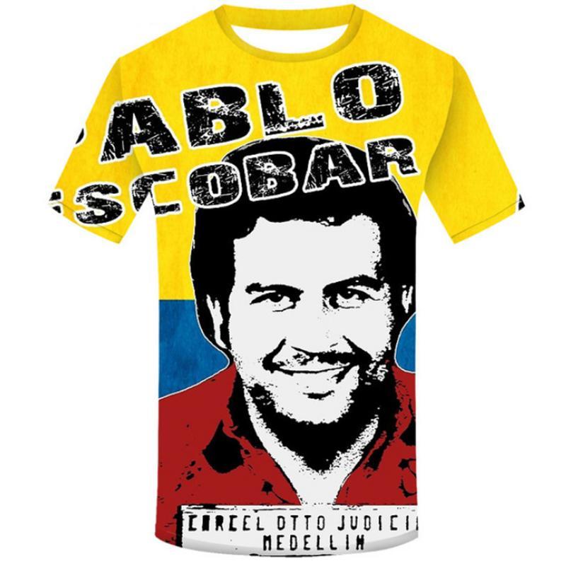 Moda Uomo / Donna 3D Stampa Pablo Escobar Casual T-Shirt manica corta F007