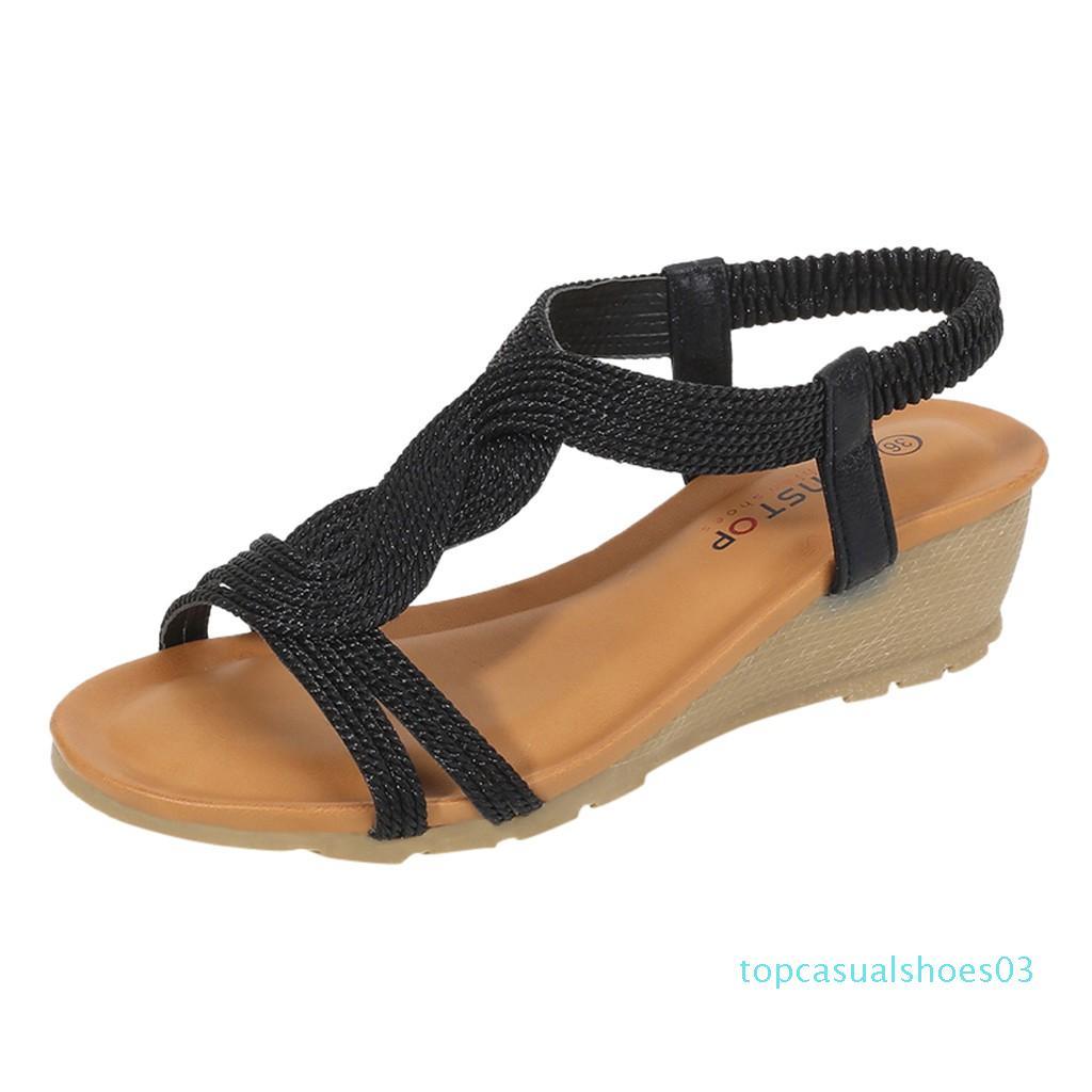 Римские сандалии Stapy Shoes клинья летние шлепанцы женщины дамы мода девушки удобные клинья толстые повседневные сандалии обувь t03