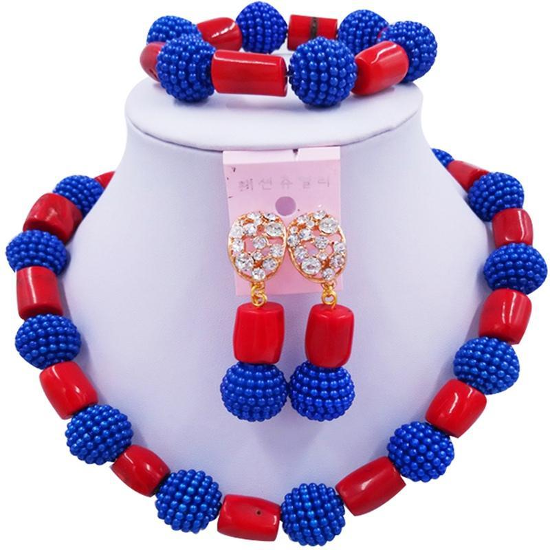 Elegante Azul Escuro Vermelho Africano Clássico Mulheres Coral Colar Brincos Conjuntos para Aniversário 1C-ZZSH-03