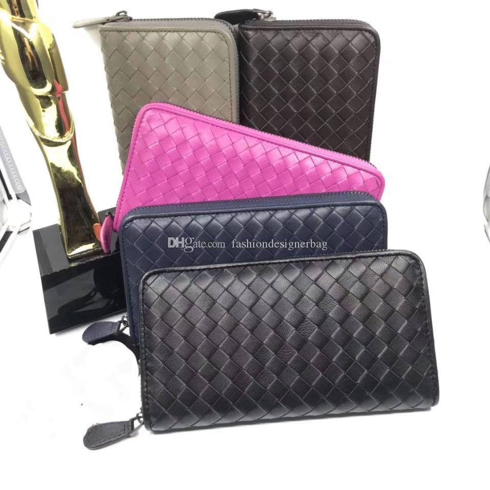 5 Colors Original Lambskin Leather Soft Hand Woven Zippy Around Men's Wallet Big Bag Card Holder Beautifully Handcrafted Designer Wallet Bag