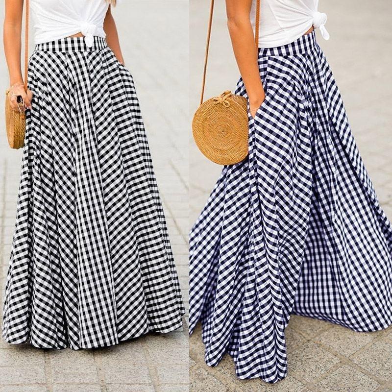 Damen-Röcke 2019 ZANZEA Vintage-Plaid überprüfen langer Rock Zipper Plissee Faldas Bohemian Jupe Femme beiläufige Taschen Maxiröcke LY191203