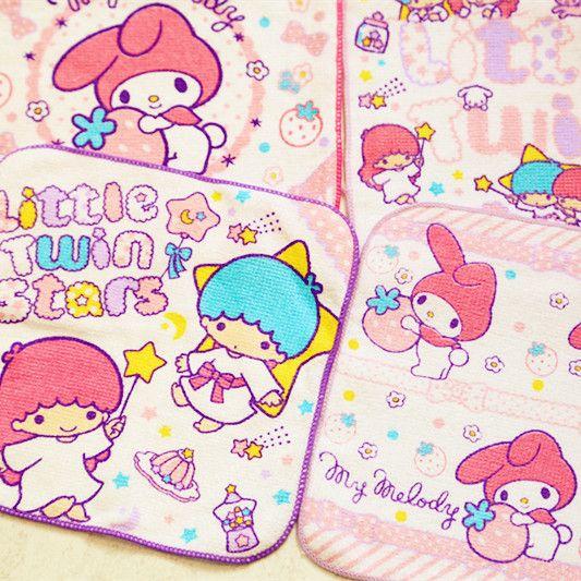Compre Kawaii Dos Desenhos Animados Impresso Rosto Quadrado Toalha Pequeno Gêmeo Estrela Minha Melodia Olá Kitty Absorvente De Algodão Toalha De Mão
