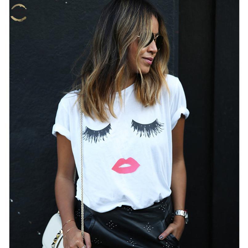 Forme la camiseta Vrouwen Wimpers Ogen Lippen informal Zomer Femme tes de las tapas de época gótica Zwarte más el tamaño de grappige camiseta