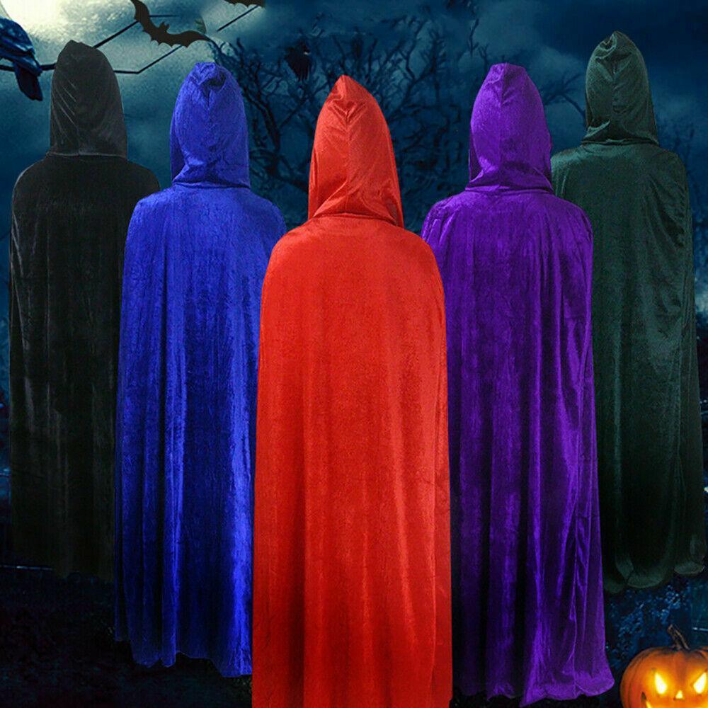 Adulto Halloween Velvet Cloak capa com capuz Medieval Traje da bruxa de Wicca vampiro Reino Unido