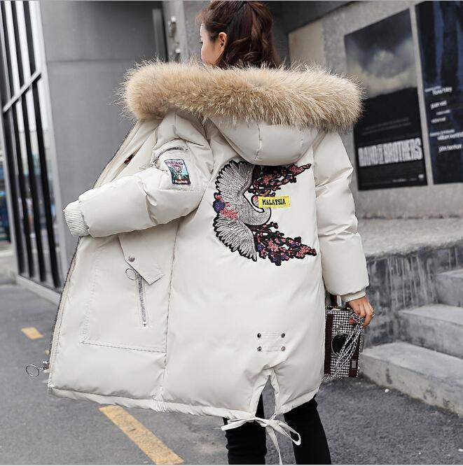 Kış yeni moda pamuk kadın uzun bölüm uzun kollu gevşek sıcak pamuklu giysiler öğrenci nakış pamuk yastıklı ekmek servisi