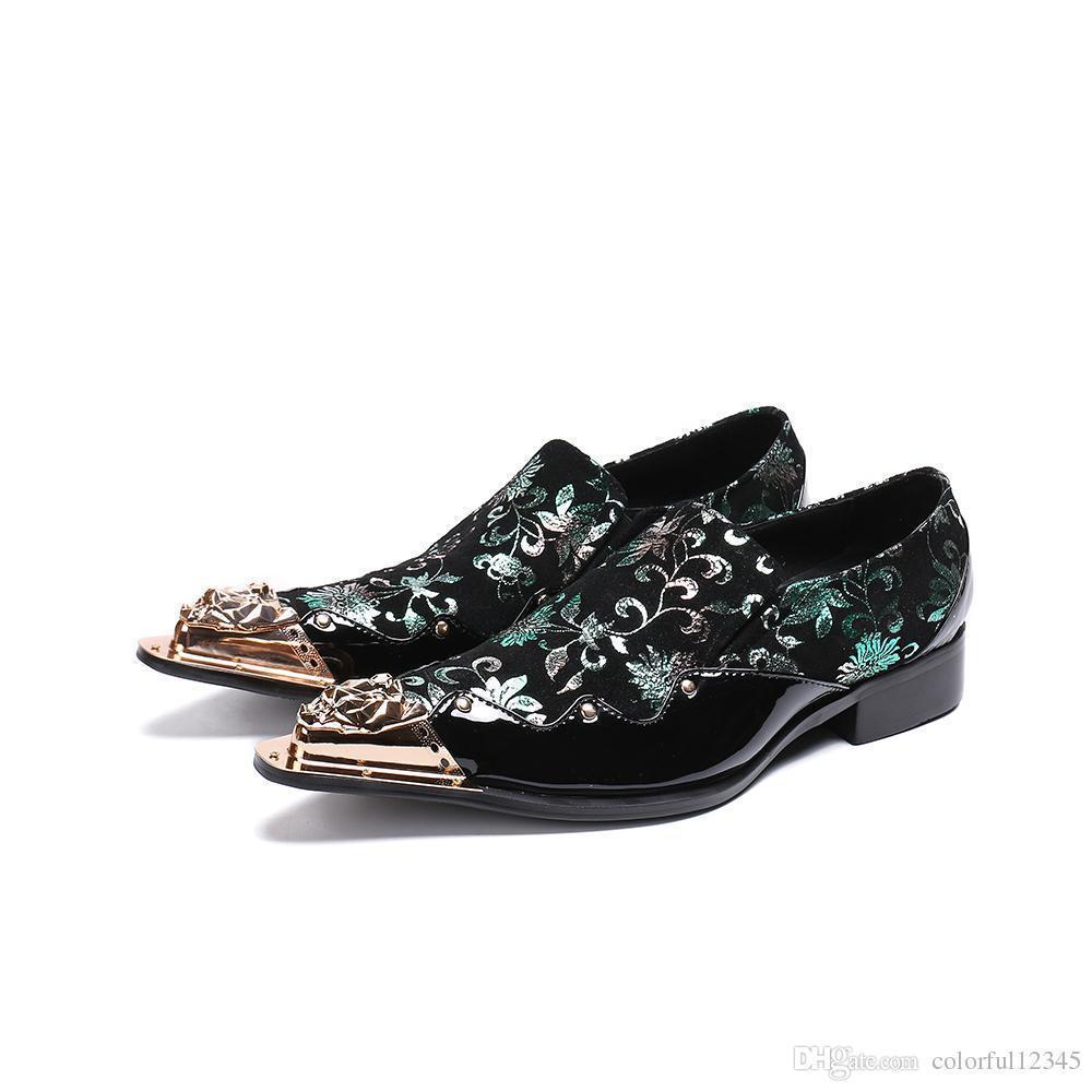 Sexy2019 clásico masculino elegante floral hombres vestido oro acero mocasines traje oficina zapatos italianos