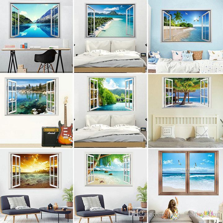 Vendita al dettaglio 9 stili 3D finti adesivi murali paesaggio camera da letto soggiorno decorazione pittura home decor spiaggia sfondi adesivi