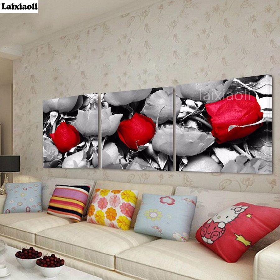 5d diy pintura diamante rose black white pictures art 3 pcs broca quadrado completo diamante bordado mosaico ícone para decoração de parede