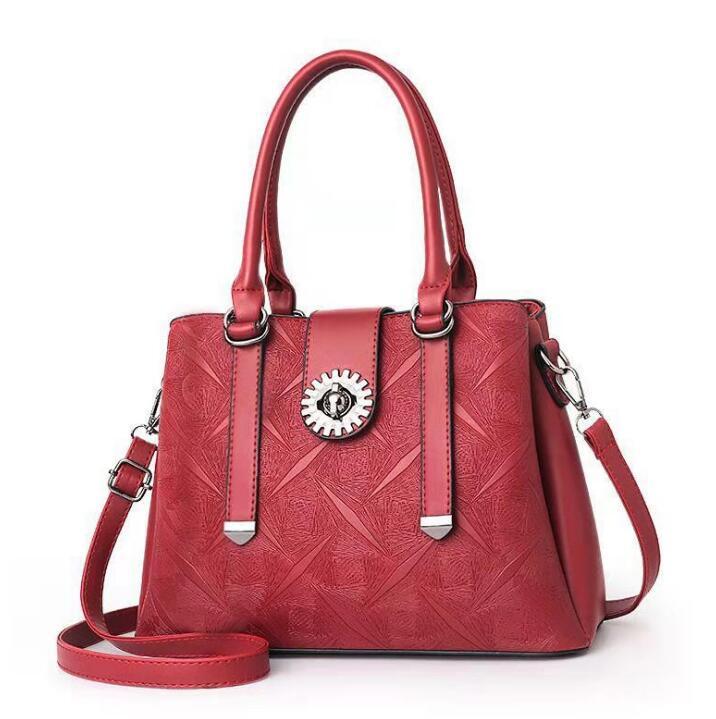 2020 Grandes sólido hombro del bolso de las mujeres del color del bolso Monedero de mujer de marca de alta calidad de cuero de la PU de gran capacidad de la bolsa de asas de lujo 005