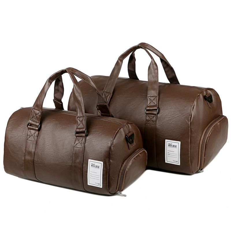PU Borse da viaggio in pelle Bag fitness immagazzinaggio dei vestiti borsa impermeabile di sport di ginnastica di yoga Borse degli uomini delle donne Deposito Duffle Bag scarpe
