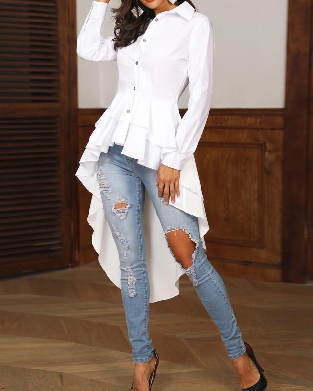 Moda Layered Babados Dip Hem Sólidos Ligue-down Colarinho Branco Camisa Casual Top Assimétrico blusa mulheres elegantes Trabalho de escritório