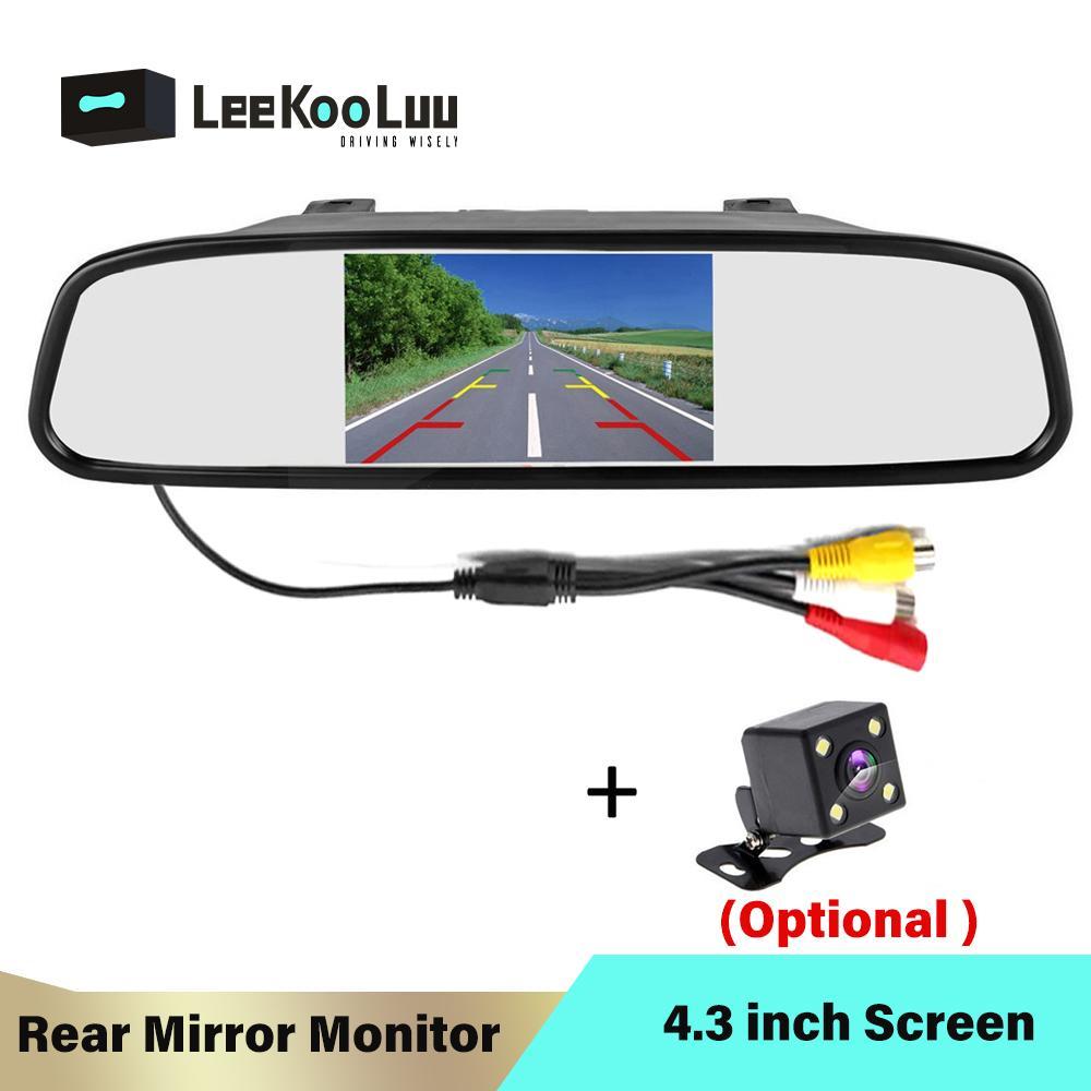 LeeKooLuu 4.3 بوصة LCD سيارة مرآة الرؤية الخلفية وقوف السيارات مراقب 2 إدخال الفيديو لنظام كاميرا للرؤية الخلفية موقف السيارات المساعدة
