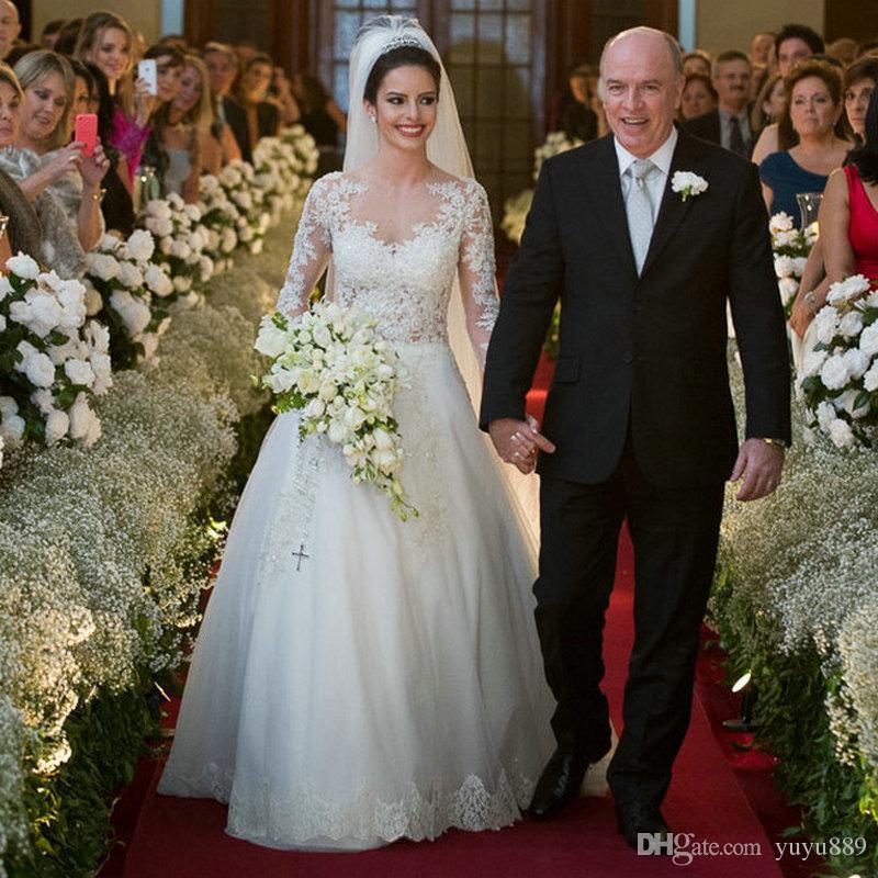 Laço bonito Plus Size Saudi Árabe Vestidos de Noiva de Manga Longa País Dubai Vestido de Noiva Bola de Vestido Bridal para Noiva