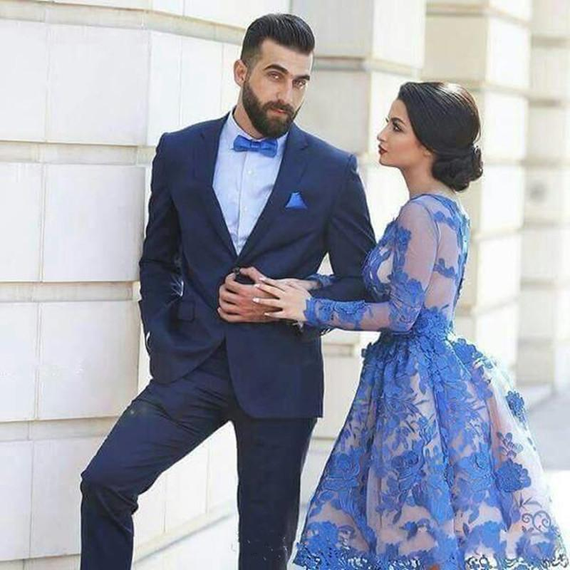 2019 NEW Royal Blue Evening Dresses Long Sleeves Knee-length 3D Floral Appliques Formal Gowns Arab Dresses Vestido De Festa