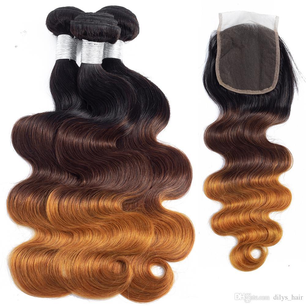 Dilys virginal brasileña del pelo mechones de cabello con cierres Ombre tres tonos de la onda del cuerpo de Malasia no procesados Humanos tramas del pelo 10-28 pulgadas