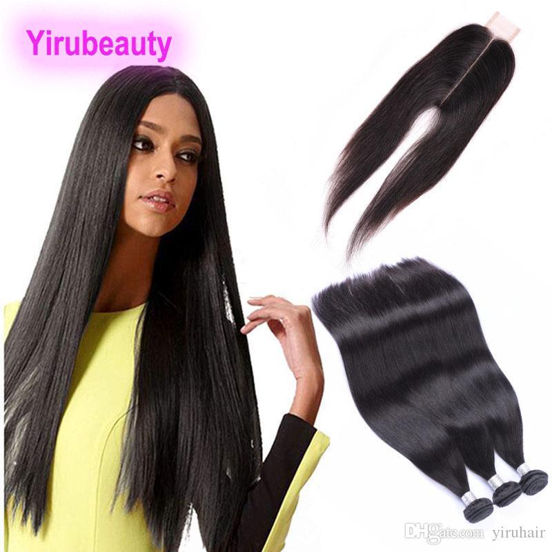 Cheveux vierges indiens 3 faisceaux avec fermeture de dentelle 2x6 Fermeture Heart Human Cheveux Indian Non transformé Bundles avec 2 * 6 Dentelle Fermeture droite