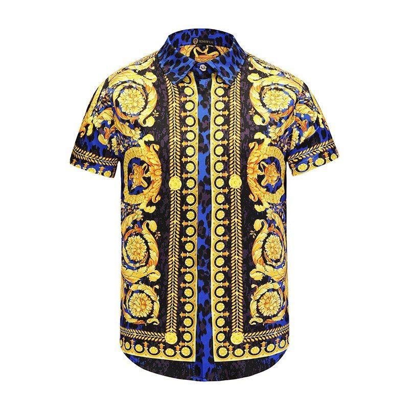 Moda-mais novo 2018 moda onda de homens 3d floral impressão mistura de cores de luxo casual hara juku camisas de manga curta medusa camisas m-2xl