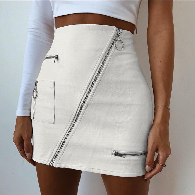 Moda Sólidos Anel Zipper Pencil PU Saias Mulheres 2020 New Casual couro de cintura alta bolso Mini Saia Sexy Saias falda
