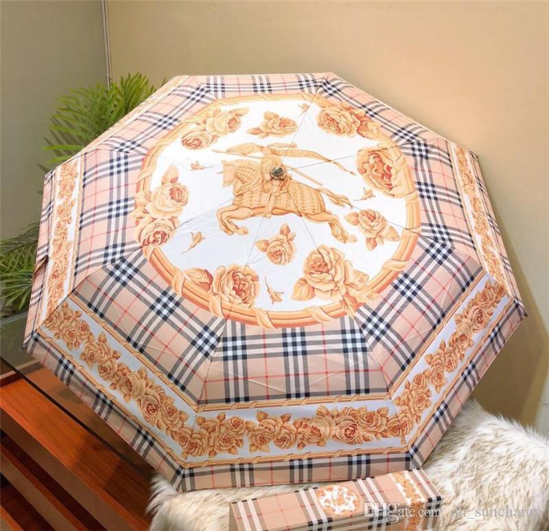 Cavaleiro impressão guarda-chuvas com caixa automática Folding guarda-chuvas ao ar livre Viagem Sun Proteção à prova de chuva Must-chuvas duráveis