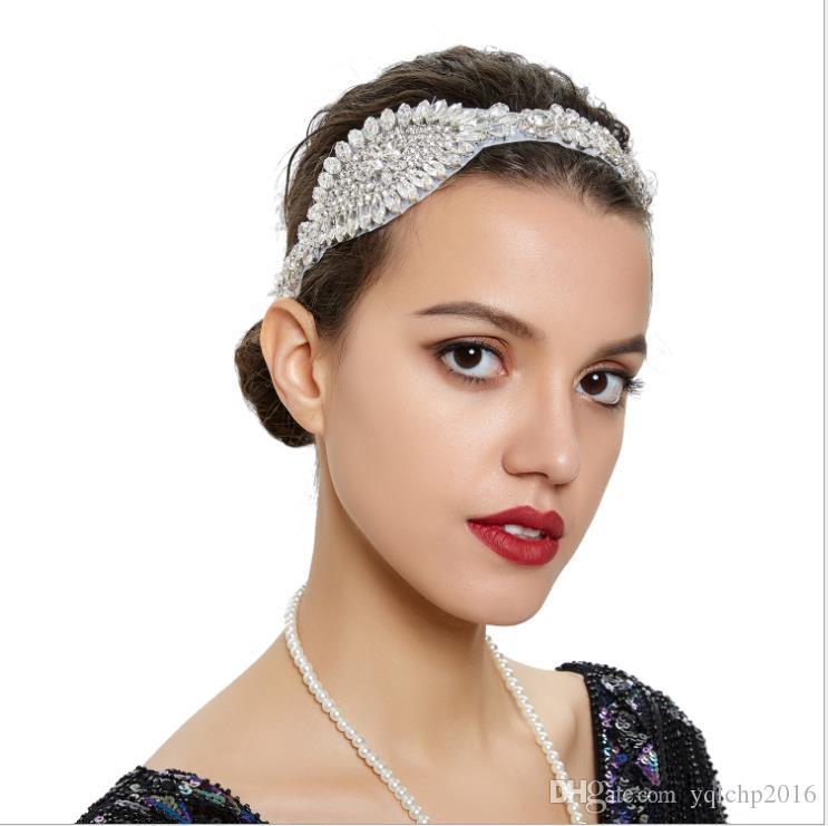 Bride's headdress elastic hairband lady's hairband hand-drilled wedding party Headband