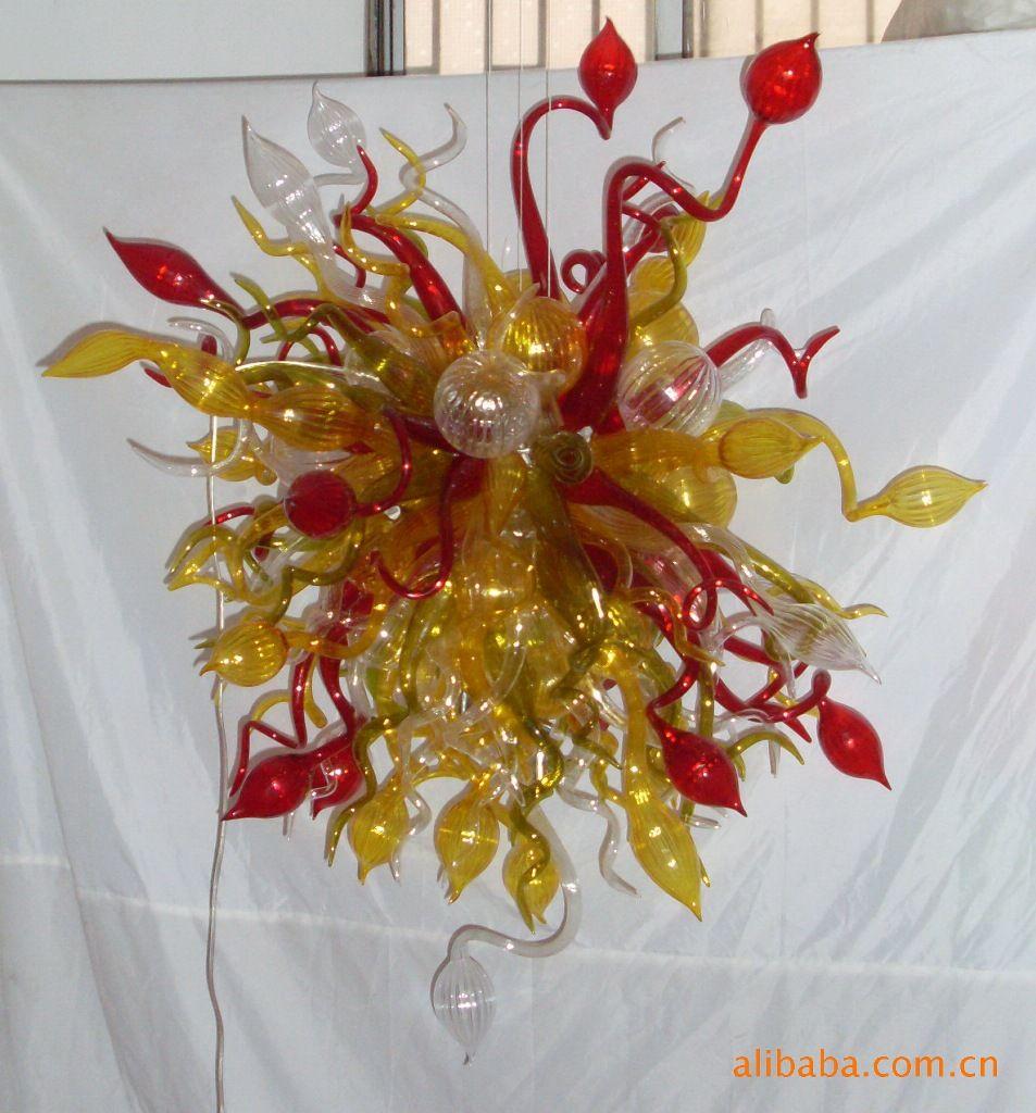 Желтый 100% ручная работа Канделябр выдувного стекла современного искусства стекла Подвесной LED Подвеска Лампы Чихули Стиль Настроенный стекла Люстра Свет