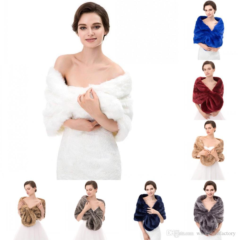 Зимние теплые куртки из искусственного меха для женщин Белое черное вино Красное свадебное свадебное болеро для свадебного вечера выпускного вечера куртки пальто CPA1614