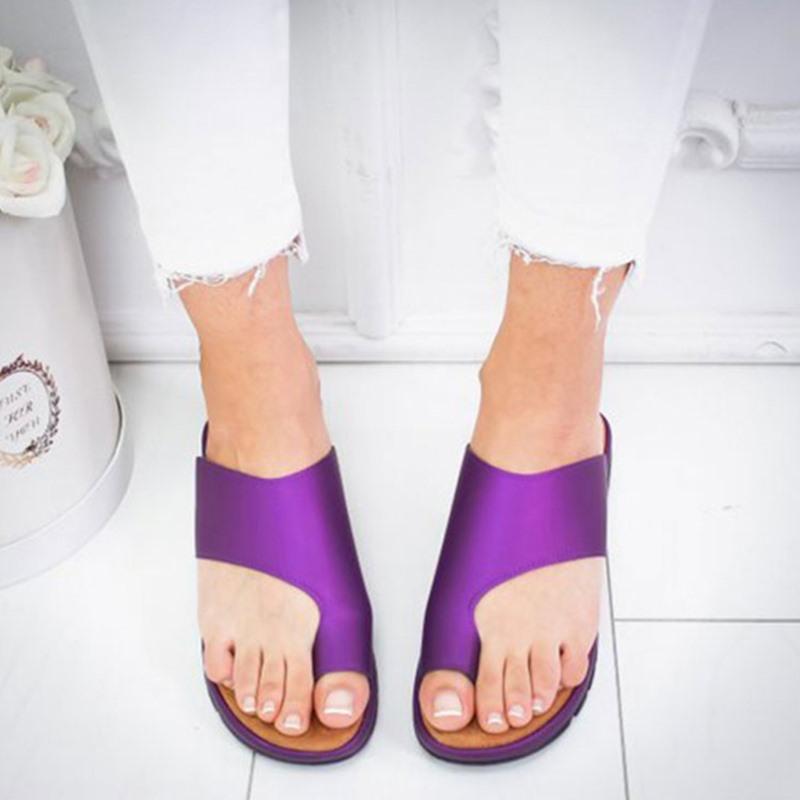 Zapatos de cuero de las mujeres PU cómoda plataforma plana Sole casual de las señoras del dedo del pie del pie grande y suave corrección de la sandalia de Ortopedia del juanete Corrector