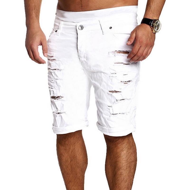 Shorts in denim con foro strappato alla moda da uomo Oeak