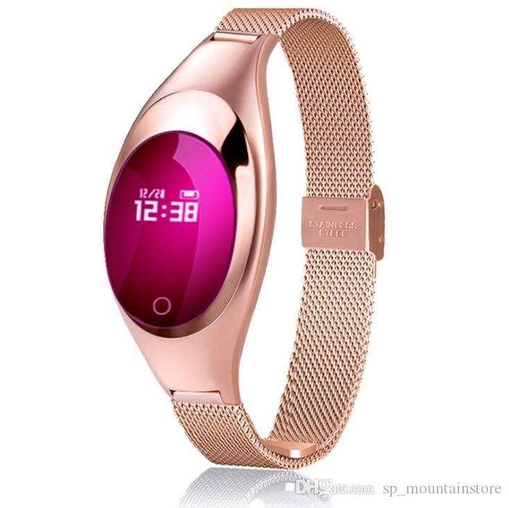 Nuevo soporte para mujer Reloj inteligente Z18 con presión arterial Monitor de ritmo cardíaco Podómetro Rastreador de ejercicios para el teléfono Android IOS (Venta al por menor)