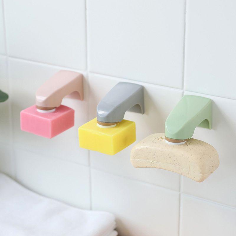 5 couleurs Accessoires de salle de montage mural Support de rangement porte-savon en bois avec étagères Autocollant savon de porte-savon magnétique