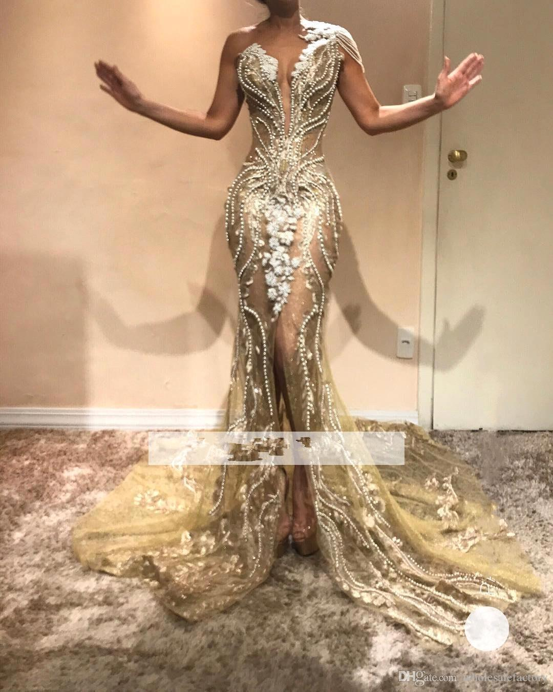 2019 Chic Beading Pearls One Shoulder Mermaid Evening Dresses Lace Appliqued Front Split Evening Gowns Party Pageant Prom Dresses BC0614